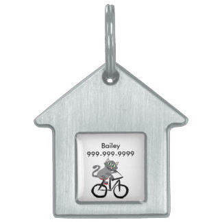 Funny Grey Kitty Cat Riding Bicycle Pet ID Tag