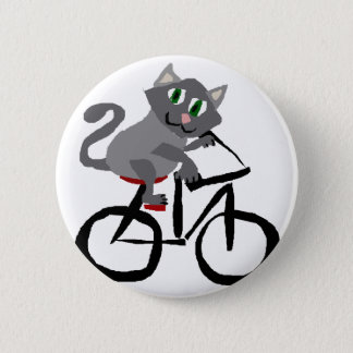 Funny Grey Kitty Cat Riding Bicycle Pinback Button