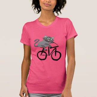 Funny Grey Kitty Cat Riding Bicycle T-Shirt
