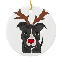 Funny Grey Pitbull Dog as Christmas Reindeer Ceramic Ornament