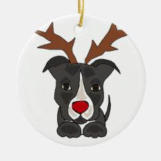 Funny Grey Pitbull Dog As Christmas Reindeer Ceramic Ornament at Zazzle