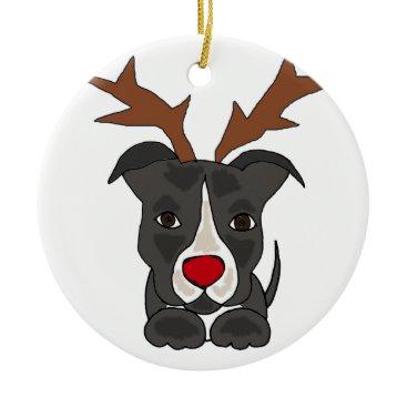 Christmas Themed Funny Grey Pitbull Dog as Christmas Reindeer Ceramic Ornament