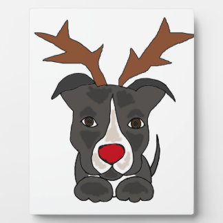 Funny Grey Pitbull Dog as Christmas Reindeer Plaque
