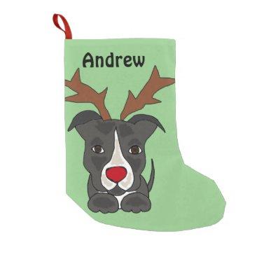 Christmas Themed Funny Grey Pitbull Dog Christmas Stocking