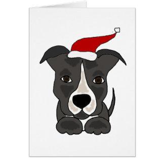 Funny Grey Pitbull in Santa Hat Christmas Art Greeting Card