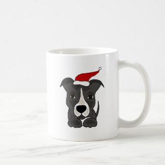 Funny Grey Pitbull in Santa Hat Christmas Art Coffee Mug