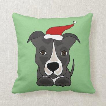 Christmas Themed Funny Grey Pitbull in Santa Hat Christmas Art Throw Pillow