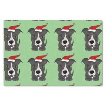 Christmas Themed Funny Grey Pitbull in Santa Hat Christmas Art Tissue Paper
