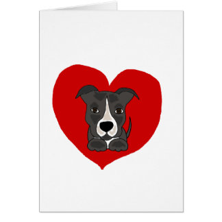 Funny Grey Pitbull Puppy Dog Love Art Card