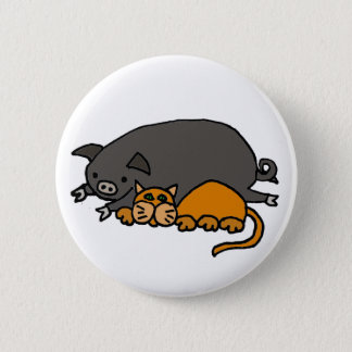 Funny Grey Pot Bellied Pig Sleeping with Orange Ca Button