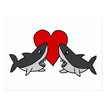 Beach Themed Funny Grey Sharks in Love Art Postcard
