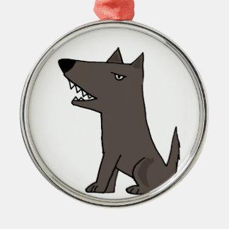 Funny Grey Watch Dog Metal Ornament