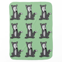 Funny Grey Wolf Baby Blanket