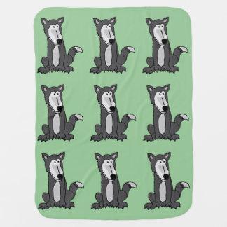 Funny Grey Wolf Baby Blanket