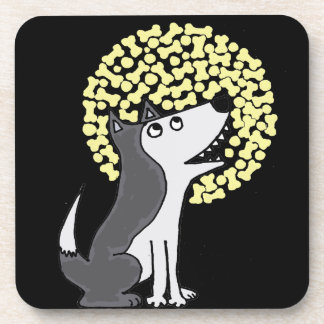 Funny Grey Wolf Howling at Biscuit Moon Coaster