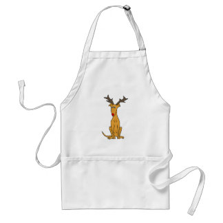 Funny Greyhound Dog as Christmas Reindeer Adult Apron