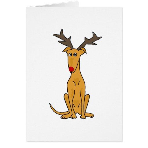 Funny greyhound dog as christmas reindeer greeting card for Funny reindeer christmas cards