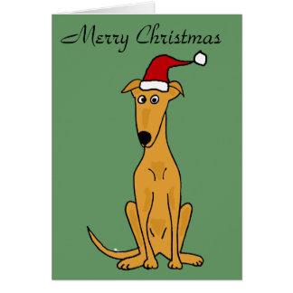 Funny Greyhound Dog in Santa Hat Christmas Art Card