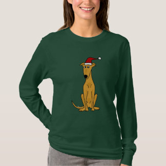 Funny Greyhound Dog in Santa Hat Christmas Art T-Shirt
