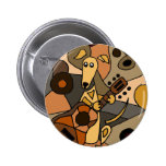 Funny Greyhound Dog Playing Guitar Abstract 2 Inch Round Button