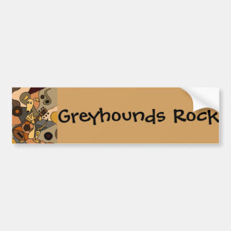 Funny Greyhound Dog Playing Guitar Abstract Bumper Sticker