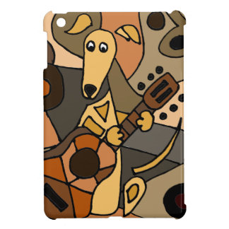 Funny Greyhound Dog Playing Guitar Abstract Cover For The iPad Mini