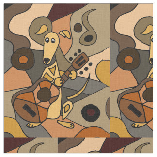 Funny Greyhound Dog Playing Guitar Abstract Fabric