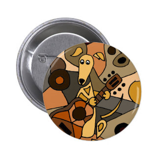 Funny Greyhound Dog Playing Guitar Abstract Pinback Button