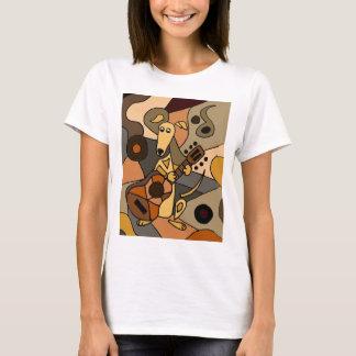 Funny Greyhound Dog Playing Guitar Abstract T-Shirt