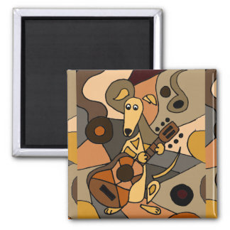 Funny Greyhound Dog Playing Guitar Art 2 Inch Square Magnet
