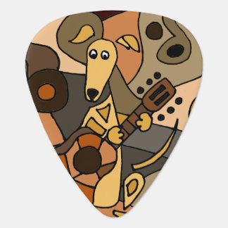 Funny Greyhound Dog Playing Guitar Art Guitar Pick