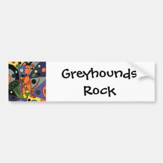Funny Greyhound Dog Playing Saxophone Bumper Sticker