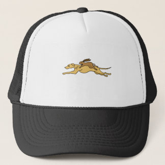 Funny Greyhound Dog Racing with Rabbit on Top Trucker Hat