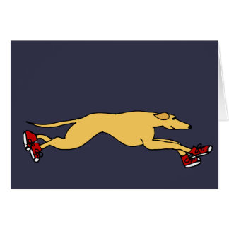 Funny Greyhound Dog Running in Red Sneakers Art Card