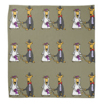 Funny Greyhound Dogs Bride and Groom Bandana