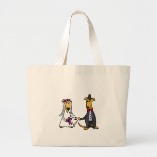 Funny Greyhound Dogs Bride and Groom Large Tote Bag