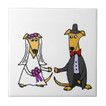 Funny Greyhound Dogs Bride and Groom Tile