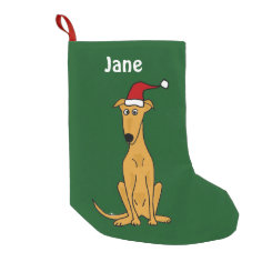 Funny Greyhound in Santa Hat Christmas Stocking Small Christmas Stocking