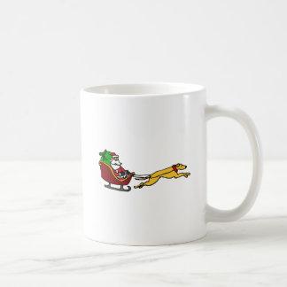 Funny Greyhound Pulling Christmas Sleigh Coffee Mug