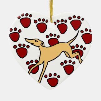 Funny Greyhound Puppy Love Christmas Ornament