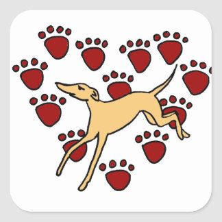 Funny Greyhound Puppy Love Square Stickers