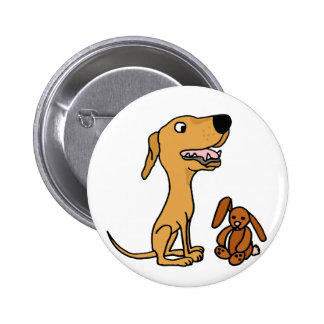 Funny Greyhound Puppy with Bunny Pinback Buttons