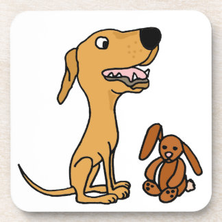 Funny Greyhound Puppy with Bunny Beverage Coasters