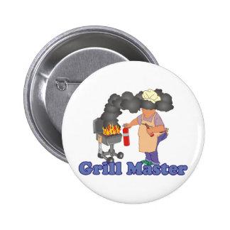 Funny Grill Master Barbecue 2 Inch Round Button