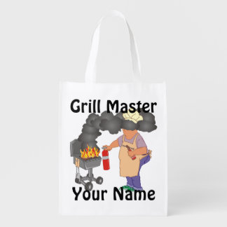 Funny Grill Master Personalized Grocery Bag