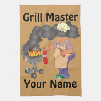 Funny Grill Master Personalized Kitchen Towel