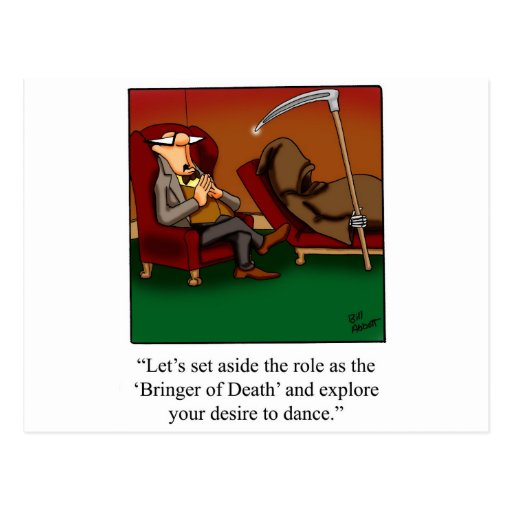 Funny Grim Reaper Dance Cartoon Post Cards