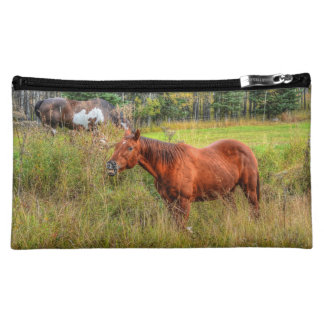 Funny Grinning Chestnut Mare & Pasture Photo Makeup Bag