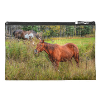 Funny Grinning Chestnut Mare & Pasture Photo Travel Accessory Bag