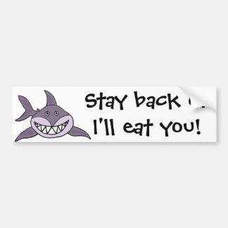 Funny Grinning Grey Shark Cartoon Bumper Sticker